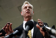 Acting Defense Secretary Patrick Shanahan speaks to reporters after a classified briefing for members of Congress on Iran, on May 21, 2019, on Capitol Hill in Washington. (AP Photo/Patrick Semansky)