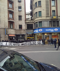 In this April 24, 2019 photo, a banner in Italian