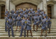 In this May 7, 2019 photo, black female cadets with the Class of 2019 pose at the U.S. Military Academy in West Point, N.Y. (Cadet Hallie H. Pound/U.S. Army via AP)