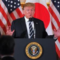 国賓として来日し、日本企業の経営者らを集めたレセプションであいさつするトランプ米大統領=東京都港区の米国大使公邸で2019年5月25日午後6時16分、手塚耕一郎撮影