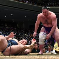 鶴竜(左)をはたき込みで破る栃ノ心=東京・両国国技館で2019年5月25日、宮間俊樹撮影