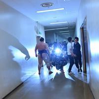 鶴竜に勝利し報道陣のフラッシュを浴びる栃ノ心(左)=東京・両国国技館で2019年5月25日、宮間俊樹撮影