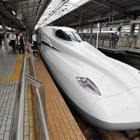 JR新大阪駅で報道公開された東海道新幹線の新型車両「N700S」=大阪市淀川区で2018年6月5日、木葉健二撮影
