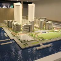 モデルルームを設置したパビリオンの中で公開されている完成予想の模型=東京都中央区晴海で2019年5月7日、宇田川恵撮影