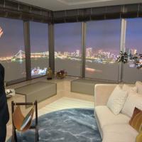 晴海フラッグのモデルルーム。リビングは広く、東京湾を一望できる(眺望はイメージ画像)=東京都中央区晴海で2019年5月7日、宇田川恵撮影