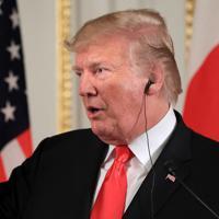 日米首脳会談後の共同記者会見で、質問に答えるトランプ米大統領=東京・元赤坂の迎賓館で2019年5月27日午後3時23分、梅村直承撮影