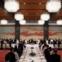 トランプ米大統領夫妻を歓迎する宮中晩さん会=皇居・宮殿「豊明殿」で2019年5月27日午後7時49分、小川昌宏撮影