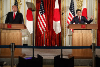 Japanese Prime Minister Shinzo Abe speaks during a press conference with U.S. President Donald Trump at Akasaka Palace in Tokyo, on May 27, 2019. (AP Photo/Evan Vucci)