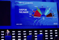 A presenter shows ongoing projections of results on a large screen in the press room at the European Parliament in Brussels, on May 26, 2019. (AP Photo/Olivier Matthys)