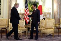 President Donald Trump meets with Japanese Prime Minister Shinzo Abe at Akasake Palace, on May 27, 2019, in Tokyo. (AP Photo/Evan Vucci)