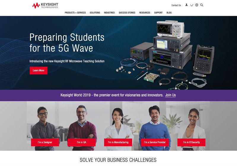 5G関連企業の一つとして注目されるキーサイト・テクノロジーズのホームページ