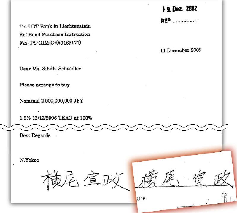 横尾氏の偽造サイン(左)と真筆