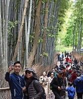 Tourists are seen at Arashiyama Bamboo Grove in Kyoto's Ukyo Ward on April 27, 2019. (Mainichi/Ai Kawahira)