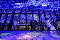 The observation deck of Tokyo Tower is seen decorated with lights and projection-mapped images in Tokyo's Minato Ward, on May 31, 2019. (Mainichi/Kaho Kitayama)