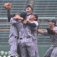 3年ぶりの本大会出場を決め、喜ぶJFE西日本の選手たち=岡山県倉敷市のマスカットスタジアムで2019年6月2日午後4時53分、安田光高撮影
