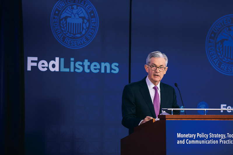 金融緩和もにじませた。写真はパウエルFRB(米連邦準備制度理事会)議長=6月4日(Bloomberg)