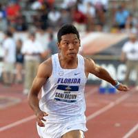 男子100メートル決勝、9秒97で日本記録を更新したサニブラウン・ハキーム=米テキサス州オースティンで2019年6月7日、隅俊之撮影