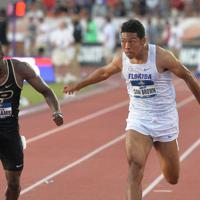 男子100メートル決勝、9秒97で日本新記録を更新したサニブラウン・ハキーム=米テキサス州オースティンで2019年6月7日、隅俊之撮影