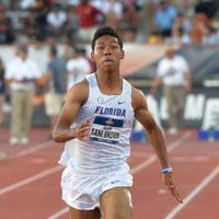陸上の全米大学選手権男子100㍍決勝で、9秒97の日本新記録をマークしたサニブラウン・ハキーム=米テキサス州オースティンで2019年6月7日、隅俊之撮影