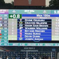 陸上の全米大学選手権男子100メートル決勝で9秒97の日本新記録を樹立したサニブラウン・ハキームらの記録=米テキサス州オースティンで2019年6月7日、隅俊之撮影