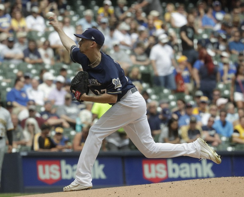 fc133000 Milwaukee Brewers starting pitcher Zach Davies throws during the first  inning of a baseball game against the Pittsburgh Pirates Saturday, June 8,  2019, ...