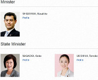 The names of the three most senior politicians at the Ministry of Education, Culture, Sports, Science and Technology are seen with their names in traditional surname first order, in this image taken from its website on June 6, 2019.