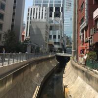 浄化が進められる渋谷川。まだ臭いがするが、地元の人は「きれいになった」=東京都渋谷区で2019年4月、鈴木梢撮影