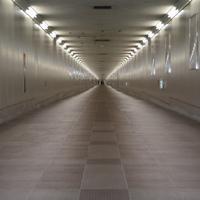 駅と成田空港の第2旅客ターミナルビルをつなぐ通路=千葉県成田市で2019年5月1日、中村宰和撮影