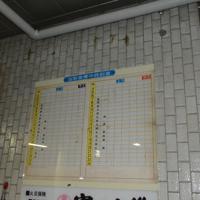 1991年に閉鎖された当時のままの時刻表=千葉県成田市で2019年5月1日、中村宰和撮影