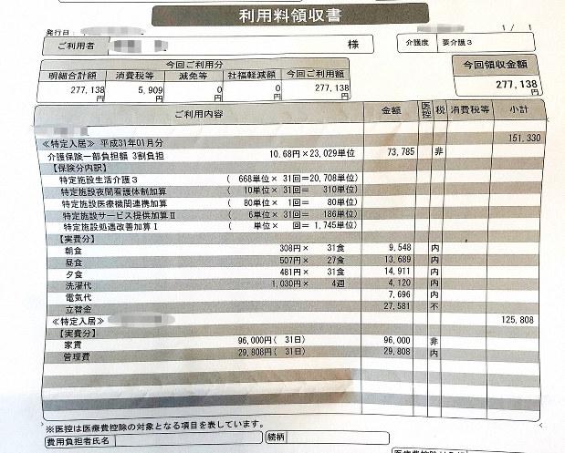 サトシさんの施設費用の明細。この月の支払いは約27万円だった