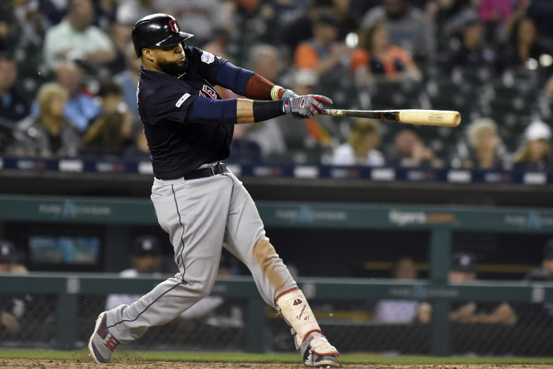 bd6a2014 Cleveland Indians first baseman Carlos Santana singles against the Detroit  Tigers in the top of the seventh inning, on June 14, 2019, in Detroit.