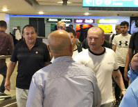 Mariners from the MT Front Altair arrive at Dubai International Airport in Dubai, United Arab Emirates, on Saturday, June 15, 2019, after spending two days in Iran. (AP Photo/Jon Gambrell)
