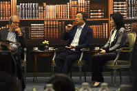 Huawei founder Ren Zhengfei, center, speaks at the telecom giant's headquarters in Shenzhen, southern China, on June 17, 2019. (AP Photo/Dake Kang)