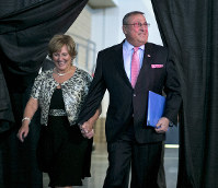 This April 26, 2014, file photo shows Maine Gov. Paul LePage and first lady Ann LePage arriving at the Maine Republican Convention, in Bangor, Maine. (AP Photo/Robert F. Bukaty)