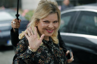 In this June 6, 2018 file photo, Sara Netanyahu, the wife of Israel's Prime Minister Benjamin Netanyahu, arrives for the meeting with French Finance Minister Bruno Le Maire at Bercy Economy Ministry, in Paris, France. (AP Photo/Francois Mori)