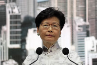 Hong Kong's Chief Executive Carrie Lam speaks at a press conference, on June 15, 2019, in Hong Kong. (AP Photo/Kin Cheung)