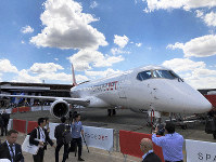 Mitsubishi Aircraft Corp.'s SpaceJet M90 is seen on display at the International Paris Air Show in Paris-Le Bourget Airport, on the outskirts of Paris, on June 17, 2019. (Mainichi/Isamu Gari)