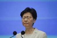 Hong Kong Chief Executive Carrie Lam reacts during a press conference at the Legislative Council in Hong Kong, on June 18, 2019. (AP Photo/Kin Cheung)