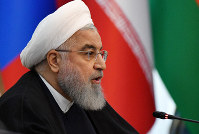 Iranian President Hassan Rouhani speaks during a session of the Shanghai Cooperation Organization summit in Bishkek, Kyrgyzstan, on June 14, 2019. (AP Photo/Vladimir Voronin)