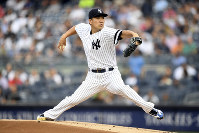 New York Yankees starting pitcher Masahiro Tanaka delivers during the first inning of a baseball game against the Tampa Bay Rays on June 17, 2019, in New York. (AP Photo/Sarah Stier)