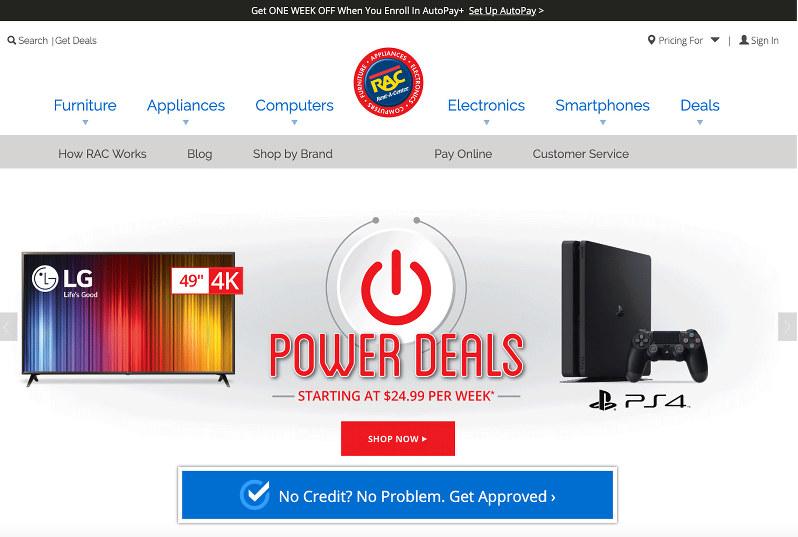 ホームページではパソコン関連品やゲーム機器など、主な取扱商品やサービス内容を紹介する