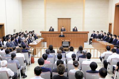 旧優生保護法を違憲と判断したものの、原告の請求を棄却した仙台地裁の法廷=いずれも5月28日、仙台市青葉区で、代表撮影
