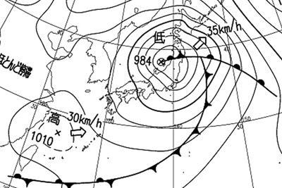 先週末は春に現れるような低気圧が日本列島を北上した=16日(気象庁提供)