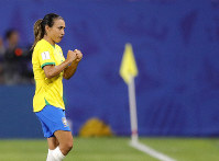 Brazil's Marta reacts during the Women's World Cup Group C soccer match between Italy and Brazil at the Stade du Hainaut in Valenciennes, France, on June 18, 2019. (AP Photo/Michel Spingler)
