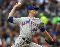 New York Mets starting pitcher Jacob deGrom (48) works in the first inning of a baseball game against the Atlanta Braves on June 18, 2019, in Atlanta. (AP Photo/John Bazemore)