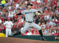 Miami Marlins starting pitcher Jordan Yamamoto throws during the first inning of the team's baseball game against the St. Louis Cardinals, on June 18, 2019, in St. Louis. (AP Photo/L.G. Patterson)
