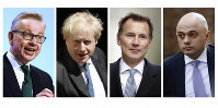 In this file four-photo combo image of various recent dates, showing the contenders still placed to become leader of the Conservative Party, on June 19, 2019, with from left: Michael Gove, Boris Johnson, Jeremy Hunt, Sajid Javid. (AP FILE Photo combo)