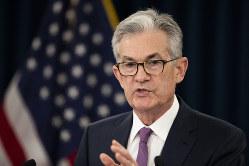 金融政策について語るFRBのパウエル議長=米ワシントンで6月19日、AP