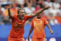 Netherlands' Vivianne Miedema reacts to a call during the Women's World Cup Group E soccer match between the Netherlands and Canada at Stade Auguste-Delaune in Reims, France, on June 20, 2019. (AP Photo/Francisco Seco)