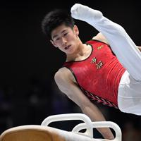 あん馬男子決勝で3位に入った橋本大輝の演技=高崎アリーナで2019年6月23日、宮間俊樹撮影
